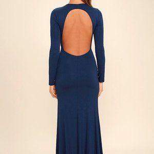 Up and Coming Navy Blue Backless Maxi Dress